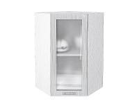 Шкаф верхний угловой Валерия ВУ599 со стеклом в цвете серый металлик дождь