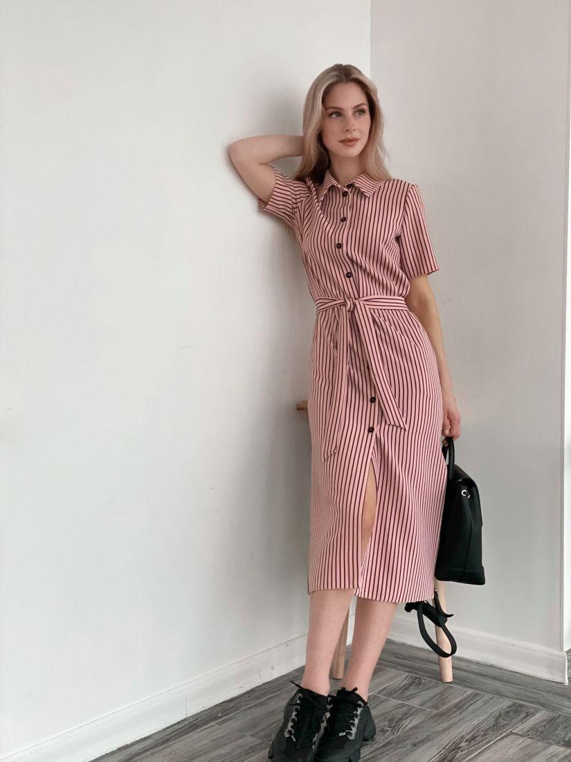 3919 Платье-рубашка пудровая в тонкую чёрную полоску