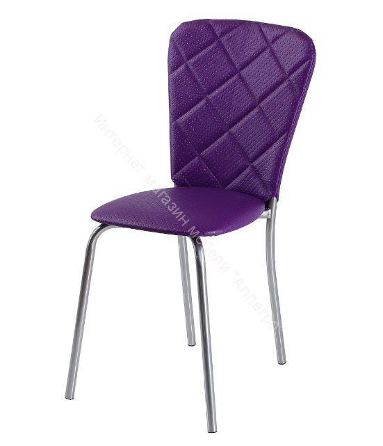 """Кухонный стул """"В-2"""" Капитон фиолетовый/Хром"""