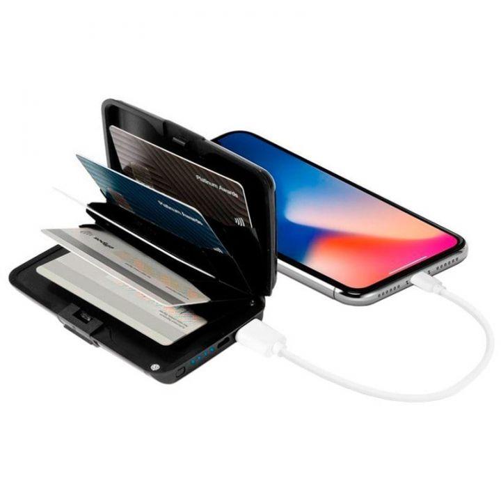 Умный Кошелек-зарядка для телефона Sonic IQ E-Charge Wallet - способ хранения банковских и дисконтных карт, зарядное устройство для любого мобильного гаджета и защита от карманных воров нового поколения.