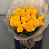 Акция! 25 солнечных роз 60 см в красивой упаковке