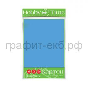 Картон цв.А4 220гр/м2 крашенный в массе голубой Альт HobbyTime 2-063/07