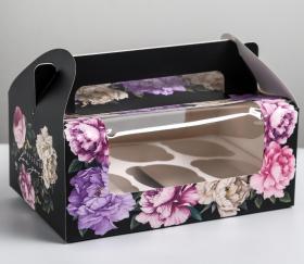 Коробка на 6 капкейков «Счастье рядом», 24 × 10 × 16 см