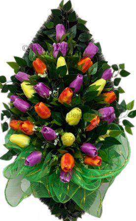 Фото Ритуальный венок из искусственных цветов - Элит #54 из тюльпанов и зелени