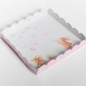 Коробка для кондитерских изделий с PVC-крышкой «Приятных моментов», 21 × 21 × 3 см