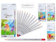 Набор цветных карандашей, 12 цветов, шестигранный серебряный корпус (арт. yl 830051-12)
