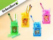 Канцелярский набор Schreiber: линейка, ножницы, клей, ластик, 2 чернографитных карандаша, 4 цвета в ассортименте