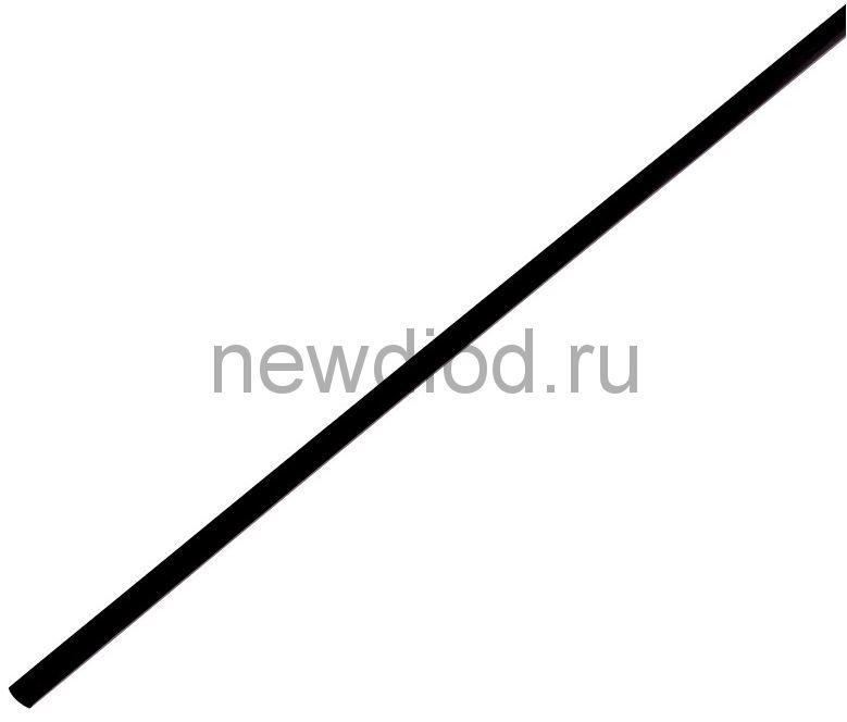 Термоусадочная трубка 2,0/1,0 мм, черная, упаковка 50 шт. по 1 м PROconnect