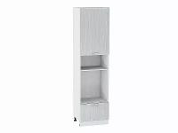 Шкаф пенал под бытовую технику с 1-ой дверцей и ящиком Валерия ШП606Н в цвете серый металлик дождь
