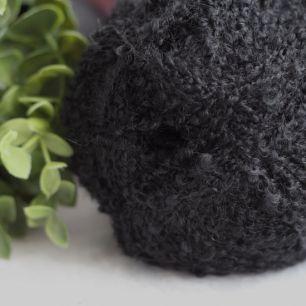 Пряжа букле (моток) для создания причесок кукол -  цвет Черный