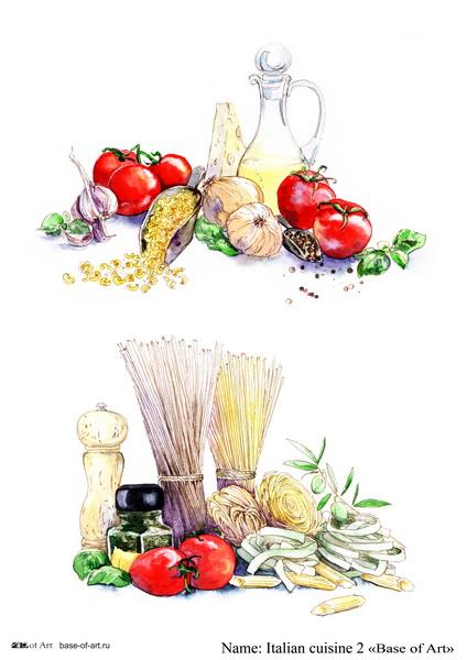 Декупажная карта Base of art, 20*30 см, Italian cuisine 2