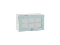 Шкаф верхний горизонтальный с увеличенной глубиной Прованс ВГ610 со стеклом (голубой)