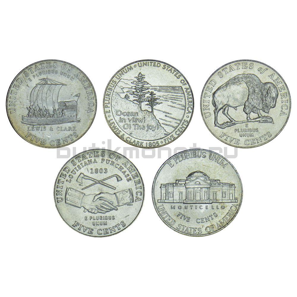 Набор 5 центов 2004-2006 США 200 лет экспедиции Льюиса и Кларка - освоение Запада (5 монет)