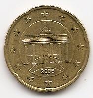 20 евроцентов Германия 2006 регулярная Двор А из обращения