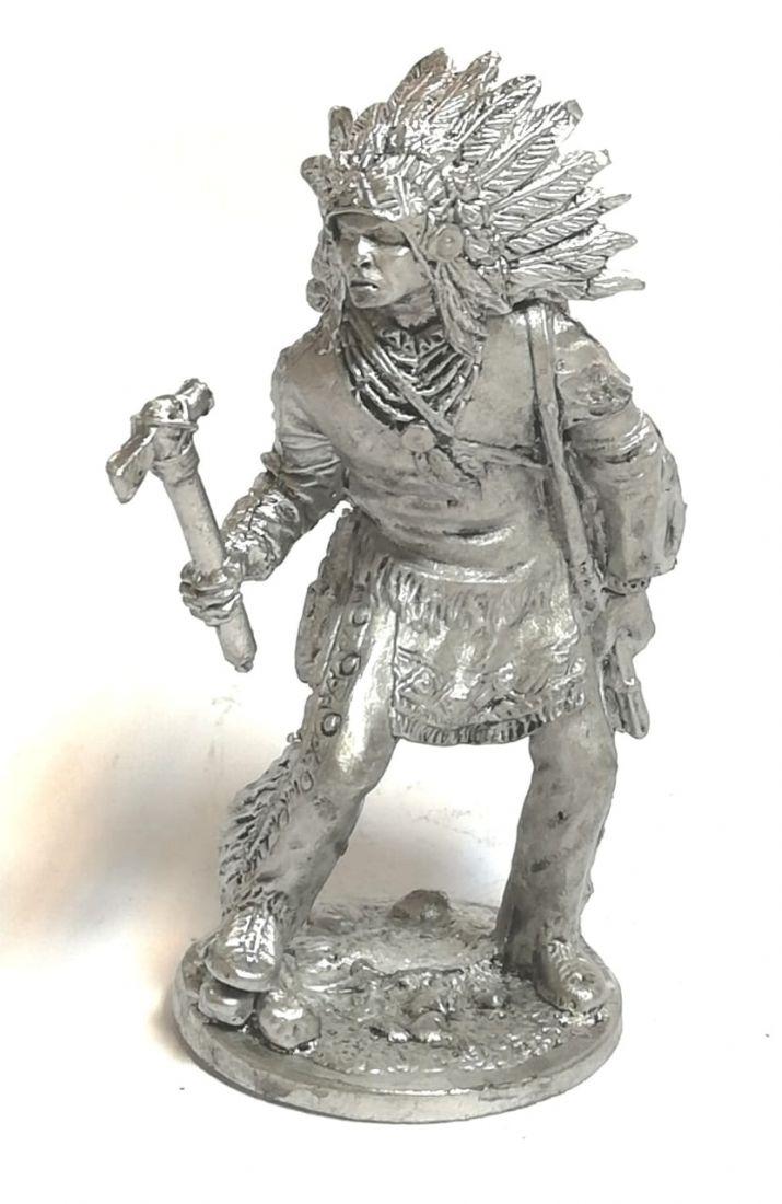 Фигурка индеец с топором олово