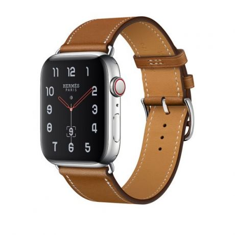 Apple Watch Hermes Stainless Steel Series 4 44mm GPS + Cellular Fauve Barenia Leather Single Tour
