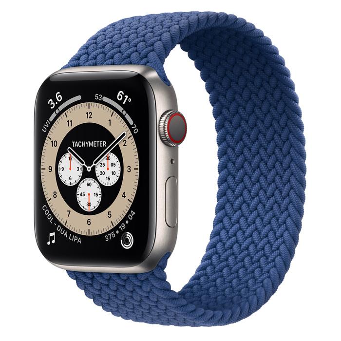 Часы Apple Watch Edition Series 6 GPS + Cellular 44mm Titanium Case with Atlantic Blue Braided Solo Loop
