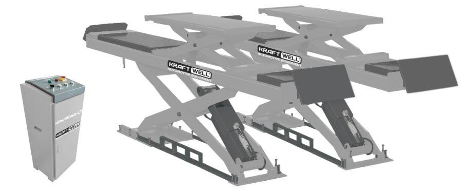 KraftWell KRW35WA-LT Подъемник ножничный г/п 3500 кг. заглубляемый, платформы для сход-развала с подъемником второго уровня