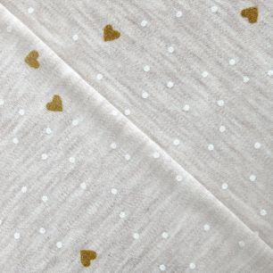 Трикотаж Золотые сердечки на бежевом меланже 50*30 см.
