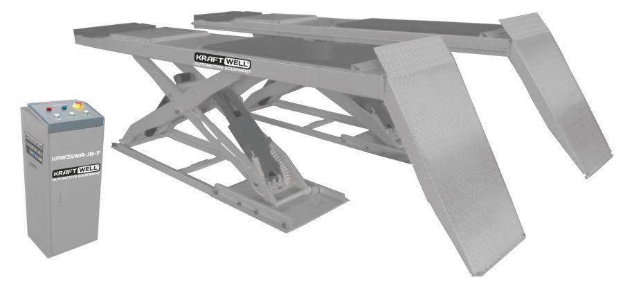 KraftWell KRW35WA-JB-F Подъемник ножничный г/п 3500 кг. напольный, платформы для сход-развала