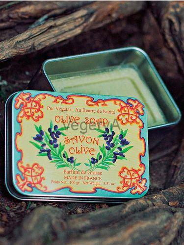 Мыло Le Blanc в жестяной коробочке Оливки