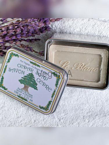 Мыло Le Blanc в жестяной коробочке Кедр