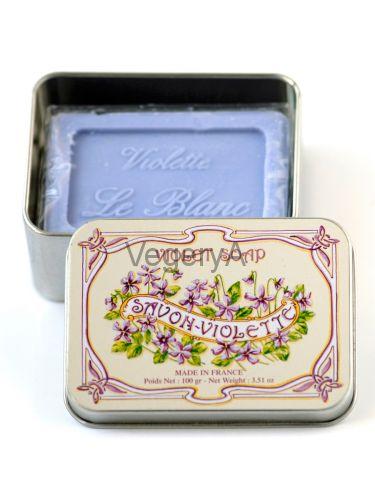 Мыло Le Blanc в жестяной коробочке Фиалка