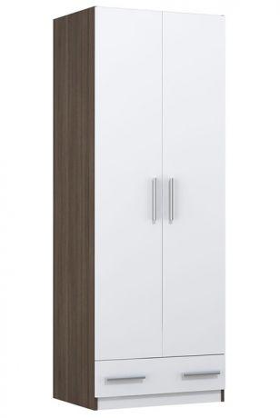 Шкаф двухсекционный Polini kids Simple c 1 ящиком, трюфель-белый