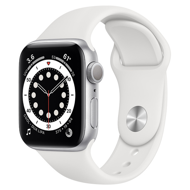 Apple Watch SE 40mm Silver Aluminum Case with White Sport Band, MYDM2 GPS