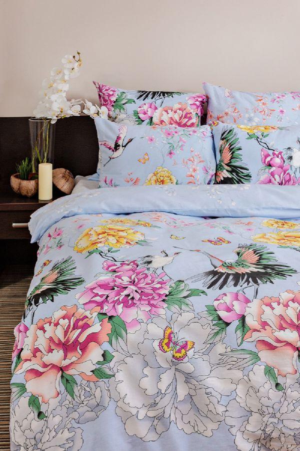 Бязь 2-х спальный [голубой] Журавли постельное белье