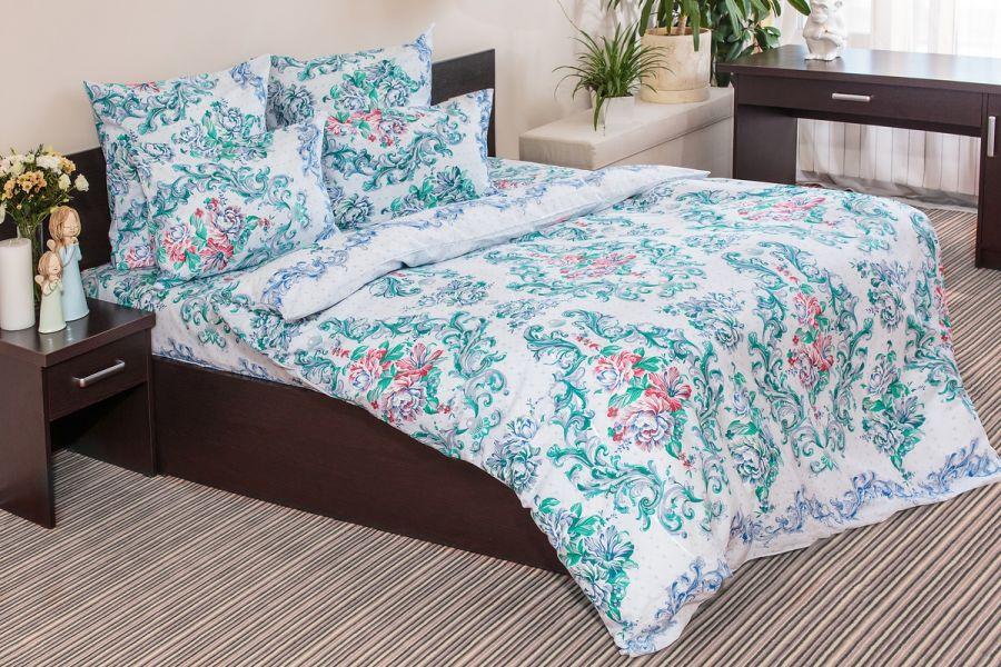 Бязь 2-х спальный [голубой] Нежная Роза постельное белье