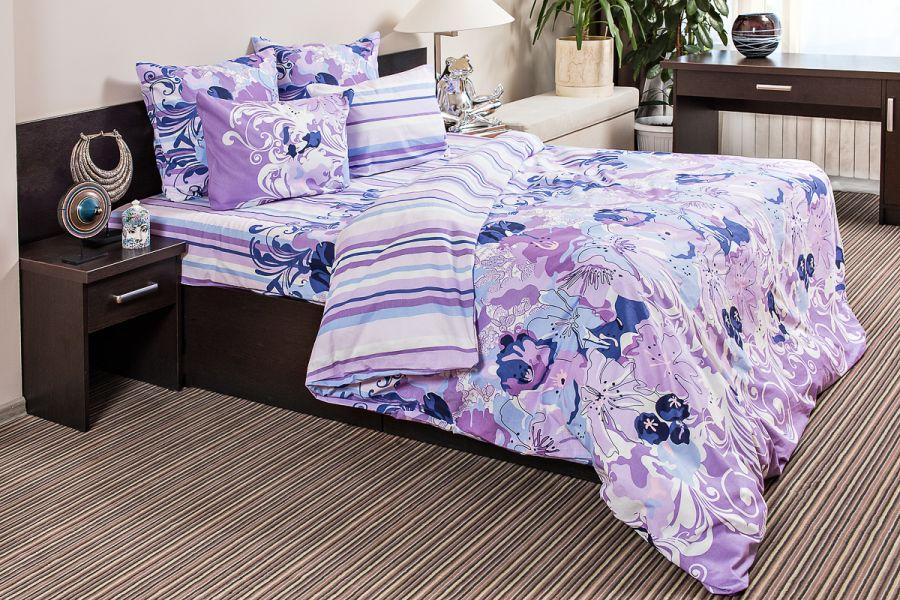 Бязь евро [фиолетовый] Акварель постельное белье