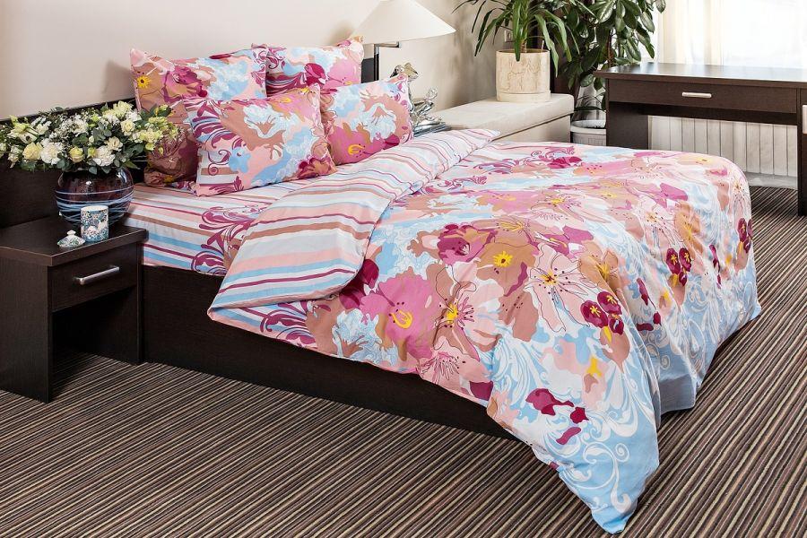 Бязь семейный [голубой] Акварель постельное белье