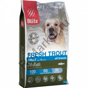 Blitz Holistic СВЕЖАЯ ФОРЕЛЬ - низкозерновой сухой корм для взрослых собак всех пород