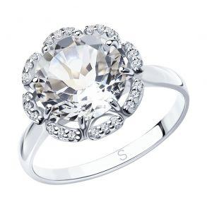 Кольцо из серебра с горным хрусталём и фианитами 92011206 SOKOLOV