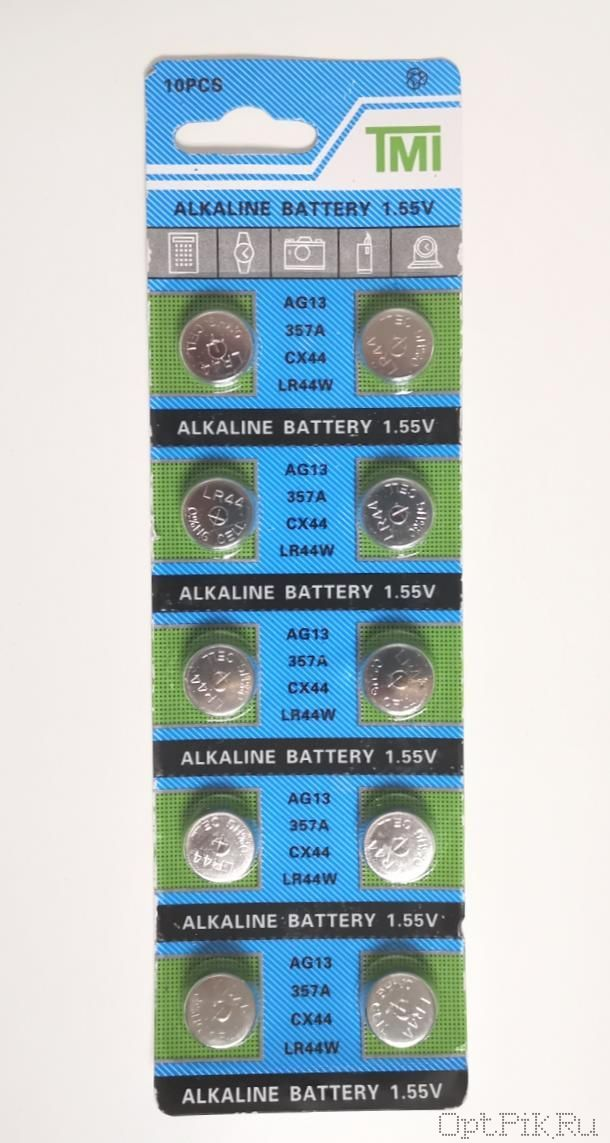 Батарейки упаковка 10 шт. AG13 таблетка 1,55 B