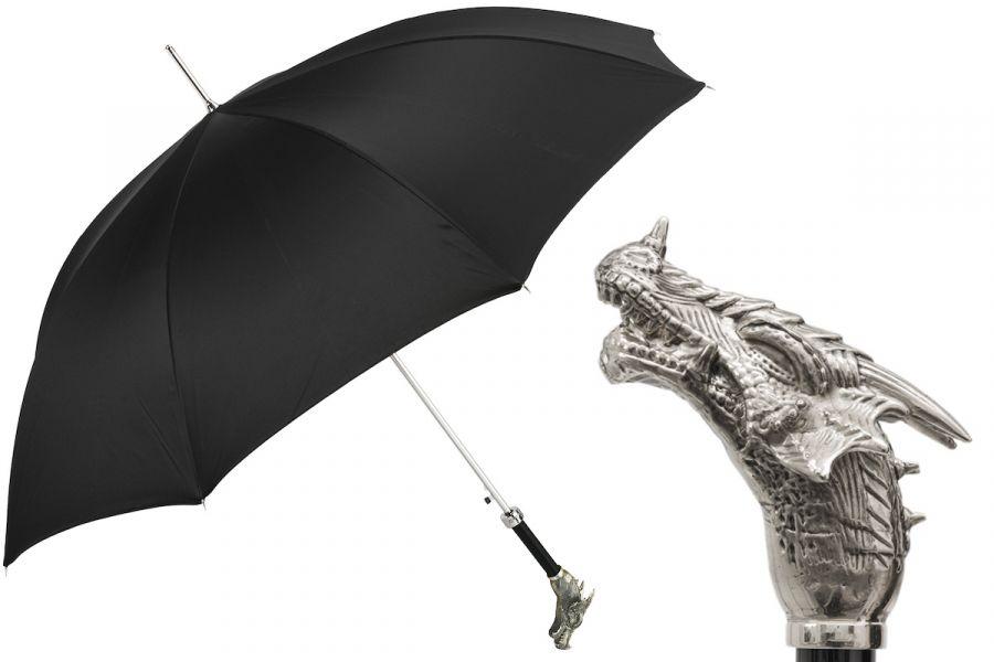 Зонт-трость Pasotti Drago Silver Oxford Black