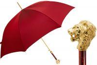 Зонт-трость Pasotti Leone Gold Oxford Rosso Fodero Anello
