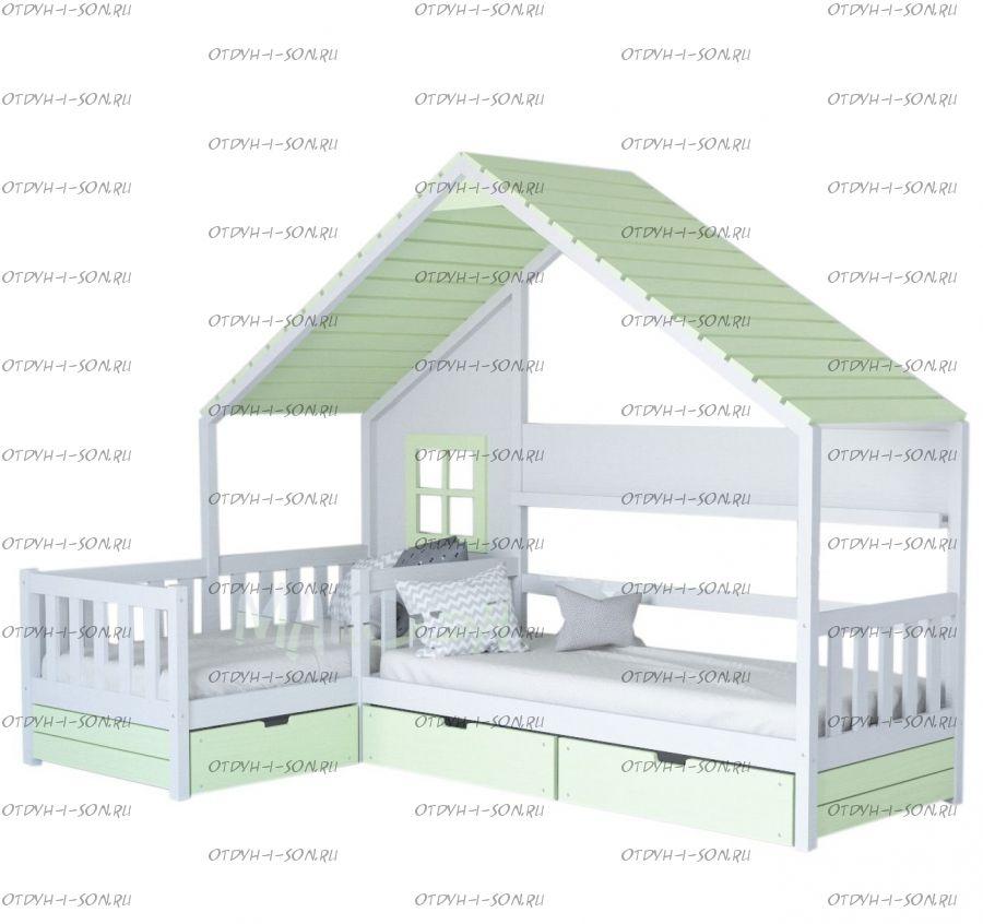 Кровать Домик Угловой Fairy Land №27F (Для Двоих Детей) любые размеры