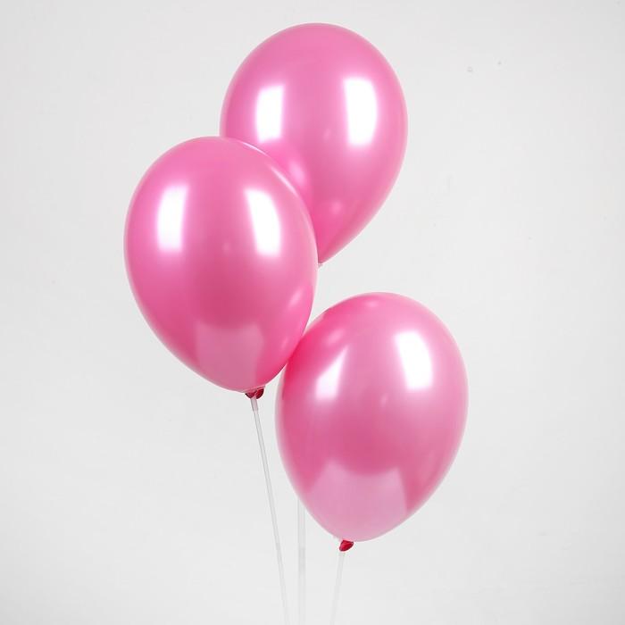 """Шар латексный 12"""", металл,  цвет розовый"""