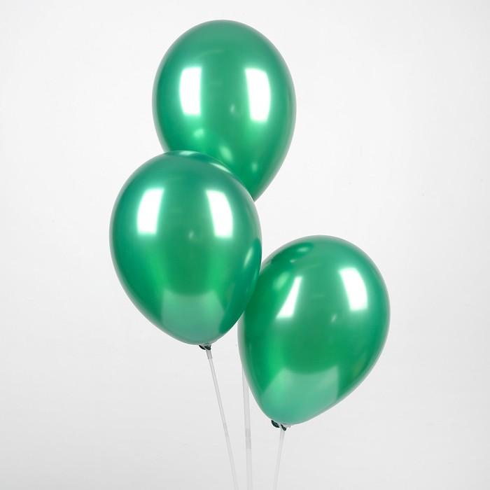 "Шар латексный 12"", металл,  цвет темно-зелёный"