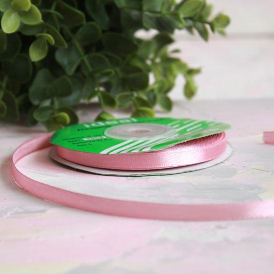 Лента атласная 6 мм, нежно-розовый