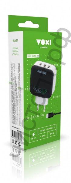 СЗУ Smartbuy Voxi 2.4 A x 2 + QC3.0 (3.0А Max) 3 USB, microUSB, черное SBP-0111