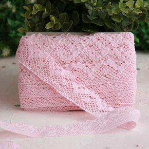 Тесьма кружевная вязаная, светло-розовая 30 мм.