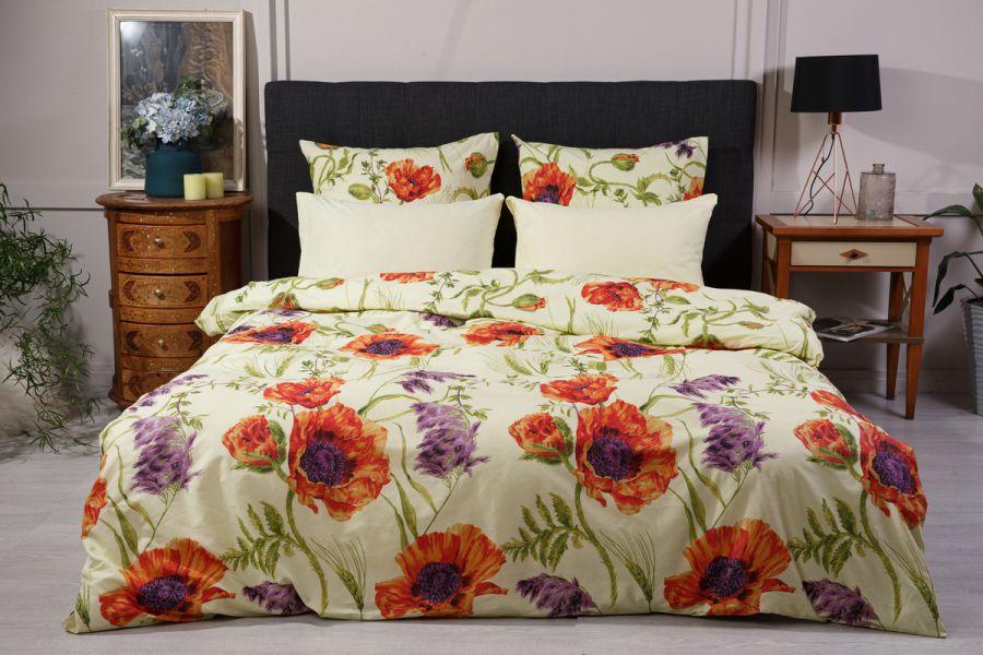 Поплин 1.5 спальный [лимонный] Маки  (простыня на резинке) постельное белье