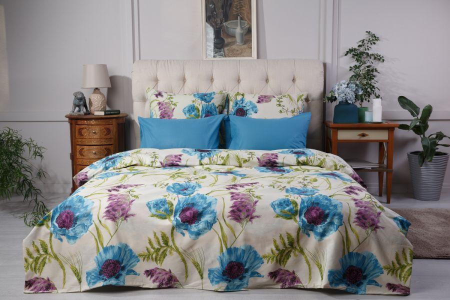 Поплин 1.5 спальный [мурена] Маки  (простыня на резинке) постельное белье