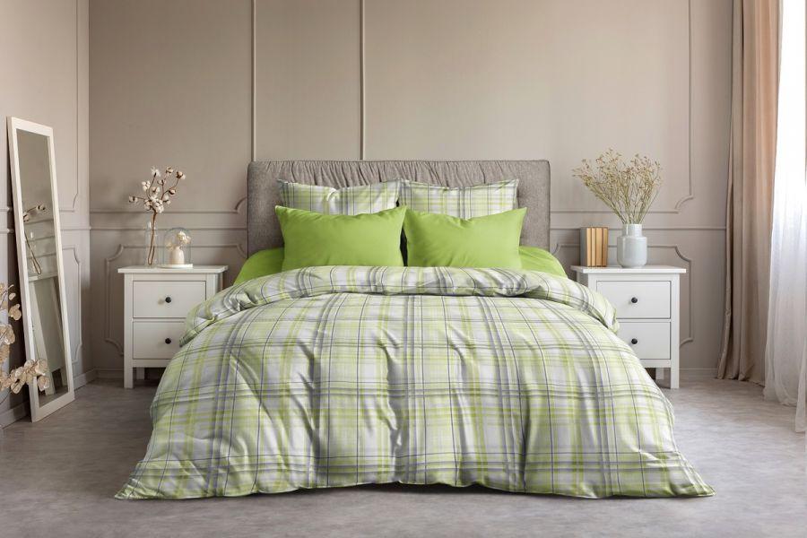 Поплин 2-х спальный [лайм] Гарди  (простыня на резинке) постельное белье