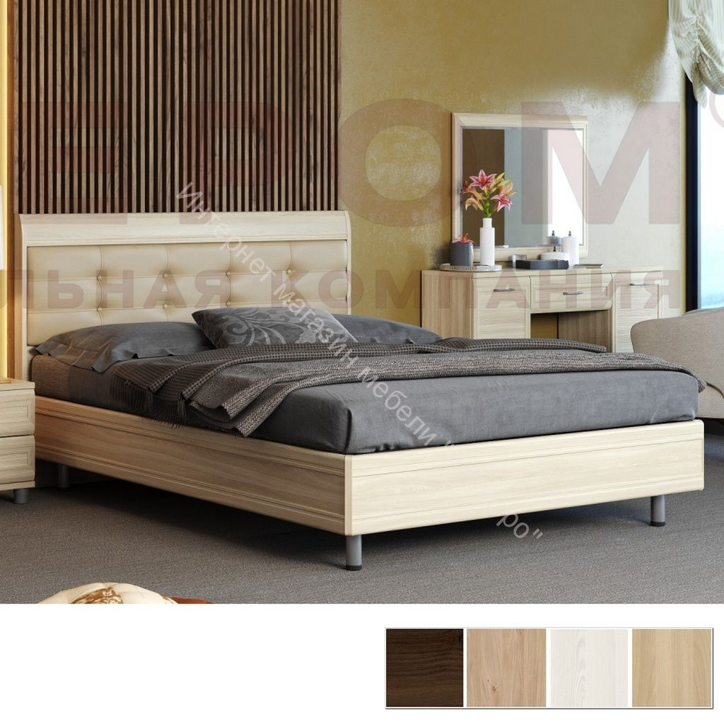 Кровать КР-2853 (1,6х2,0) с мягким изголовьем Мелисса