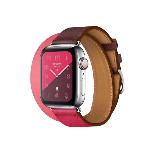 Apple Watch Hermes Series 6 40mm Stainless Steel GPS + Cellular Bordeaux Rose with Double Tour