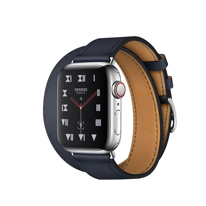 Apple Watch Hermes Series 6 40mm Stainless Steel GPS + Cellular Navy Leather Double Tour